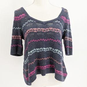 Free People Open Knit Striped Short Sleeve Sweater